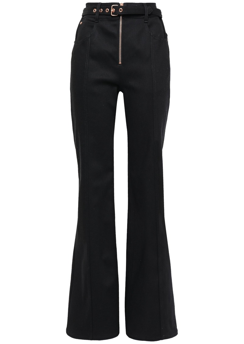 Proenza Schouler Woman Belted High-rise Flared Jeans Black