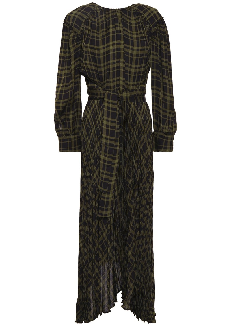Proenza Schouler Woman Belted Pleated Checked Twill Midi Dress Army Green