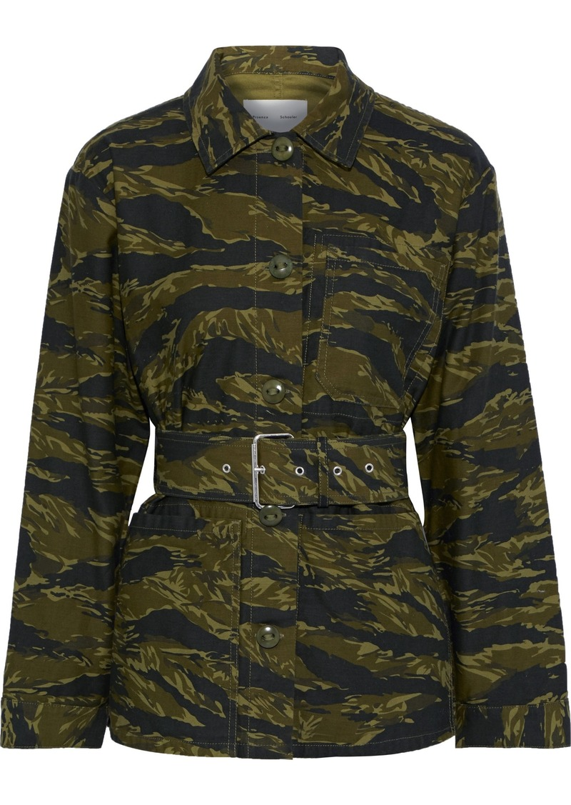 Proenza Schouler Woman Belted Printed Cotton-canvas Jacket Army Green