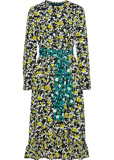 Proenza Schouler Woman Belted Ruffle-trimmed Printed Crepe Midi Dress Black