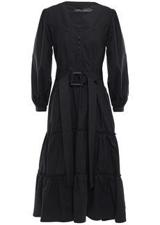 Proenza Schouler Woman Belted Stretch Cotton-poplin Midi Dress Black