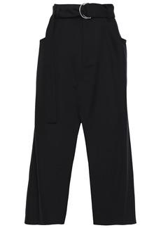 Proenza Schouler Woman Belted Wool-blend Twill Midi Skirt Black