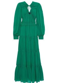 Proenza Schouler Woman Bow-detailed Cutout Gathered Silk-georgette Maxi Dress Green