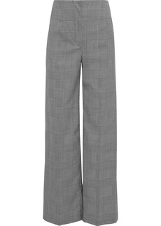 Proenza Schouler Woman Buckle-detailed Houndstooth Stretch-wool Wide-leg Pants Black