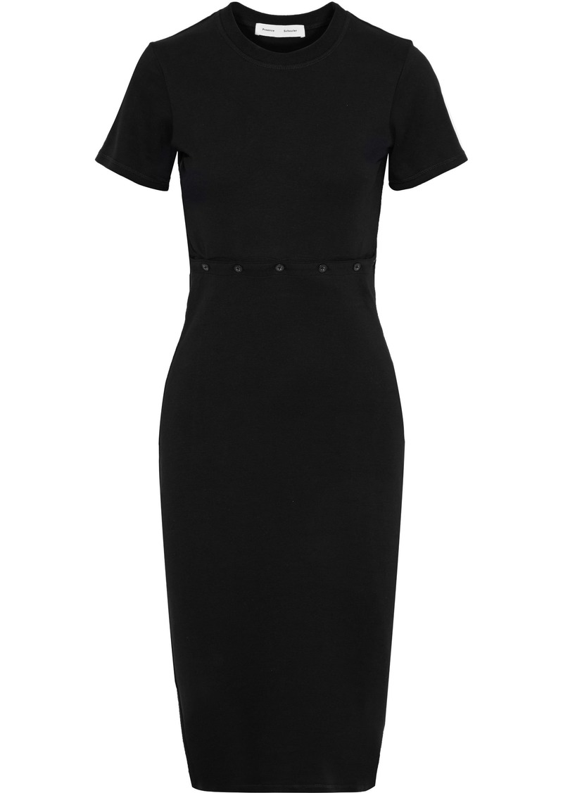 Proenza Schouler Woman Button-detailed Cotton-jersey Dress Black