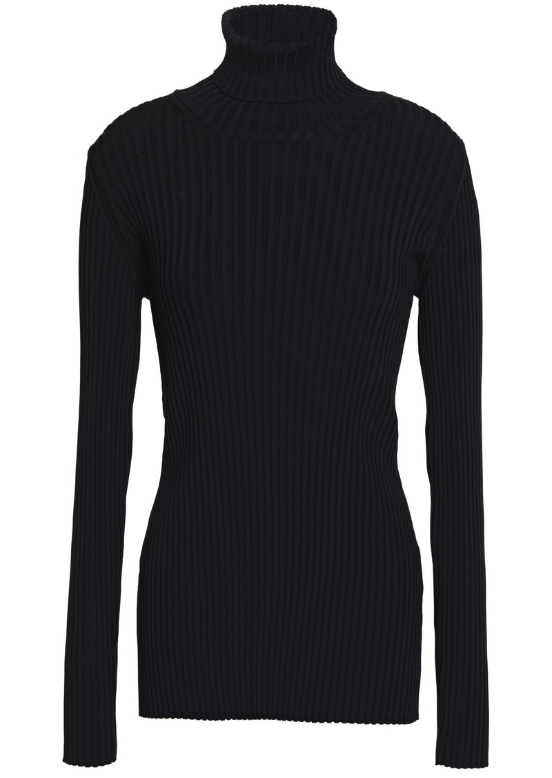Proenza Schouler Woman Button-detailed Ribbed-knit Turtleneck Sweater Black