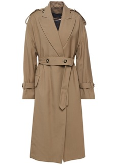 Proenza Schouler Woman Button-detailed Wool-blend Twill Trench Coat Sage Green