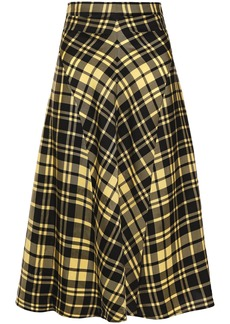 Proenza Schouler Woman Checked Crinkled-twill Skirt Yellow