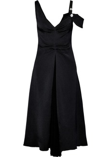Proenza Schouler Woman Cold-shoulder Ruched Woven And Pleated Chiffon Midi Dress Black