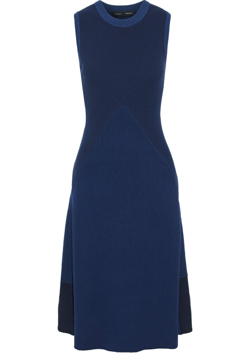 Proenza Schouler Woman Color-block Ribbed-knit Dress Indigo