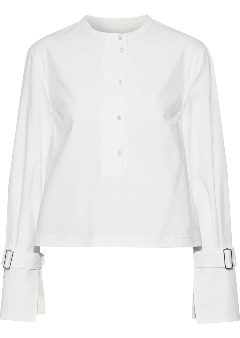 Proenza Schouler Woman Buckled Stretch-cotton Poplin Top White
