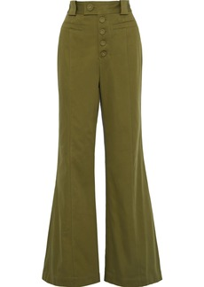 Proenza Schouler Woman Cotton-twill Flared Pants Leaf Green