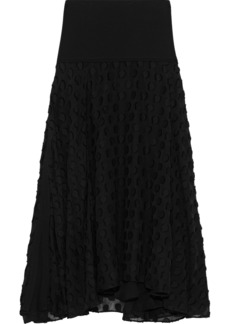 Proenza Schouler Woman Crepe-paneled Fil Coupé Silk And Cotton-blend Midi Skirt Black