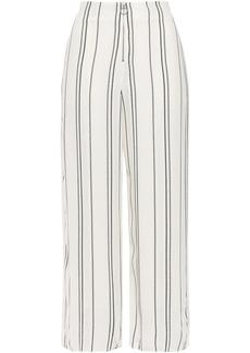 Proenza Schouler Woman Cropped Distressed Striped Crepe Wide-leg Pants White