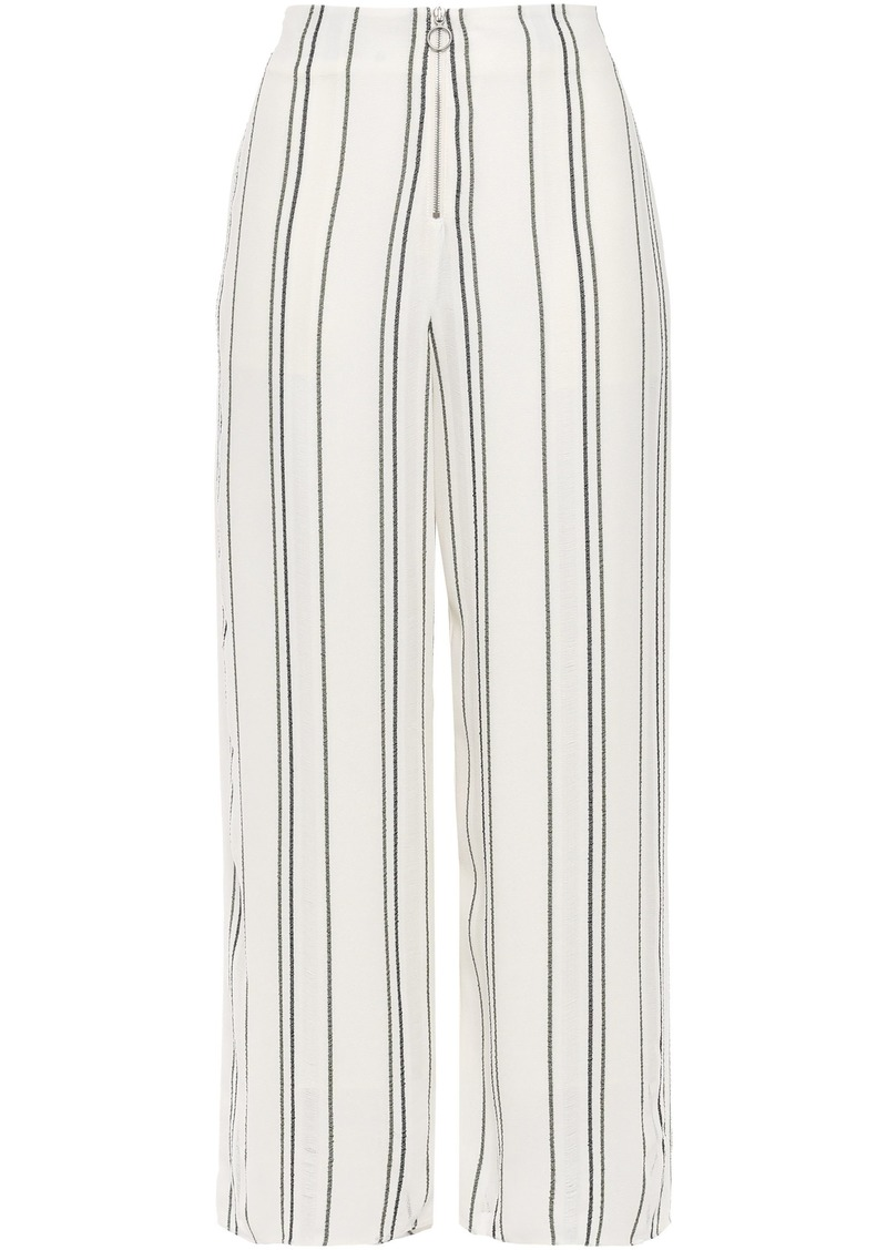 Proenza Schouler Woman Cropped Distressed Striped Crepe Wide-leg Pants White