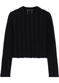 Proenza Schouler Woman Cropped Pointelle-knit Sweater Black