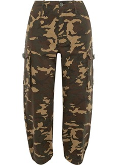 Proenza Schouler Woman Cropped Printed Cotton-blend Twill Tapered Pants Army Green