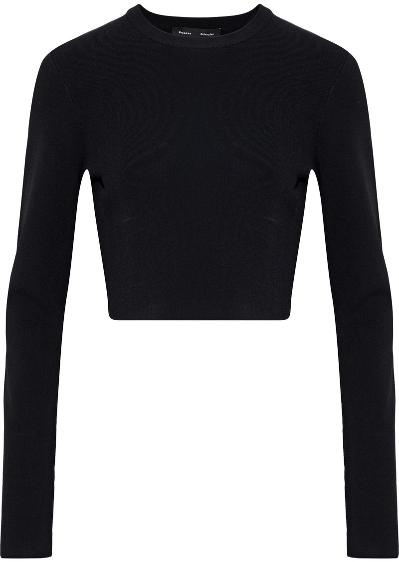 Proenza Schouler Woman Cropped Ribbed-knit Top Black
