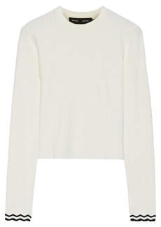Proenza Schouler Woman Cropped Ribbed-knit Top Off-white