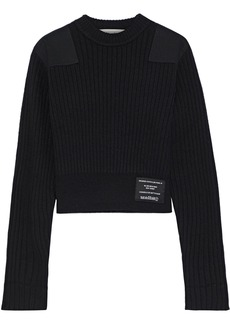 Proenza Schouler Pswl Woman Cropped Twill-appliquéd Ribbed Cotton-blend Sweater Black