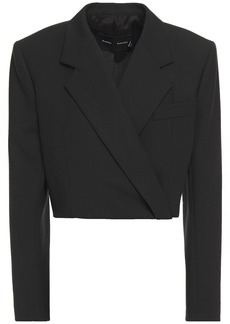 Proenza Schouler Woman Cropped Wool-blend Twill Blazer Black