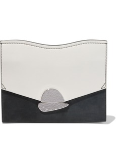 Proenza Schouler Woman Curl Color-block Leather And Suede Clutch Black