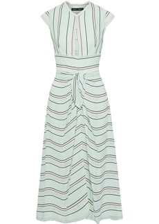 Proenza Schouler Woman Cutout Knotted Striped Crepe Midi Dress Mint