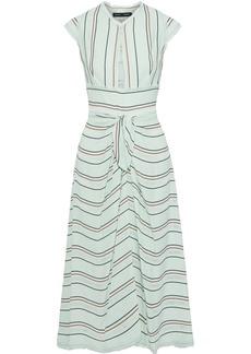 Proenza Schouler Woman Cutout Knotted Striped Crepe Midi Dress Mint