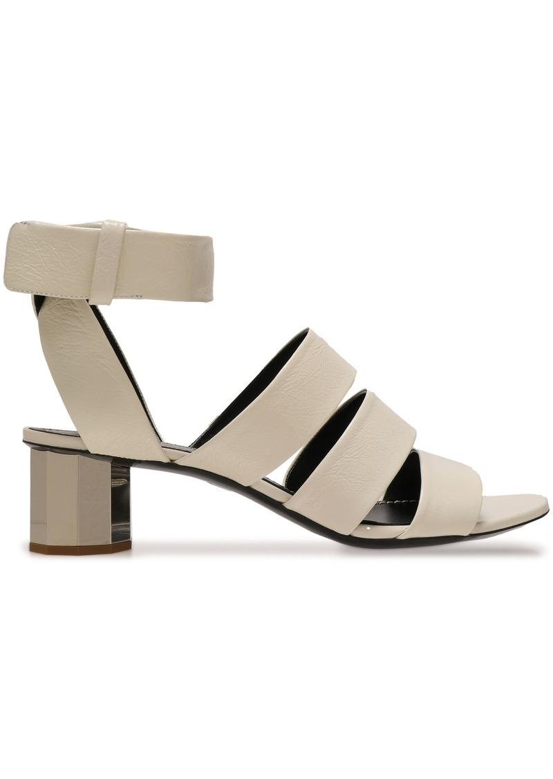 Proenza Schouler Woman Cutout Leather Sandals Light Gray