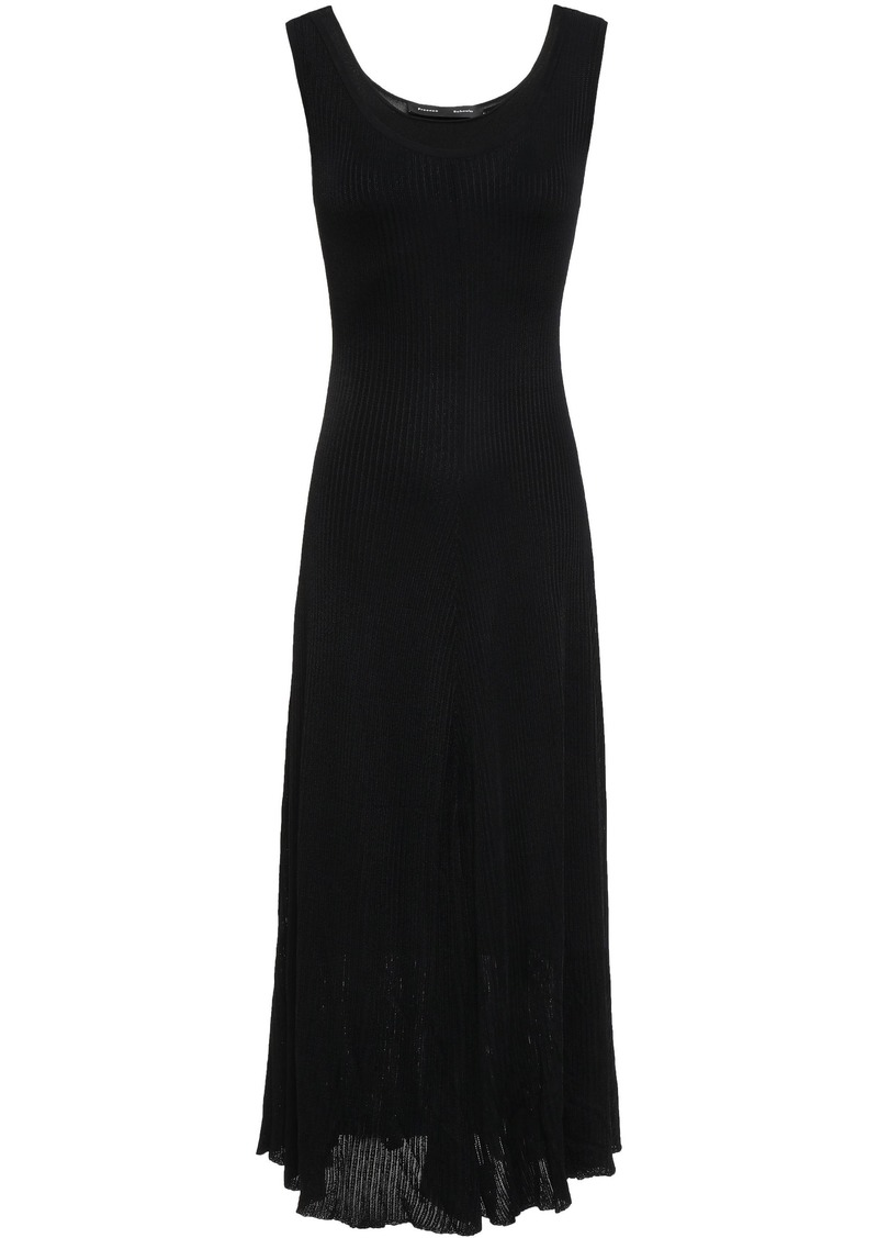 Proenza Schouler Woman Cutout Ribbed Jersey Midi Dress Black