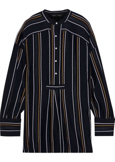 Proenza Schouler Woman Distressed Striped Crepe Tunic Black