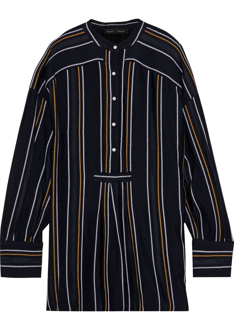 Proenza Schouler Woman Distressed Striped Crepe Tunic Black