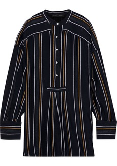 Proenza Schouler Woman Distressed Striped Crepe Blouse Black