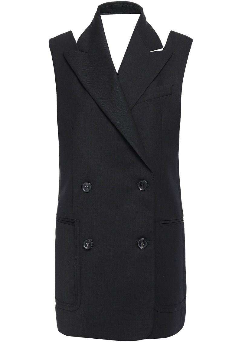 Proenza Schouler Woman Double-breasted Cutout Wool-blend Gabardine Vest Black