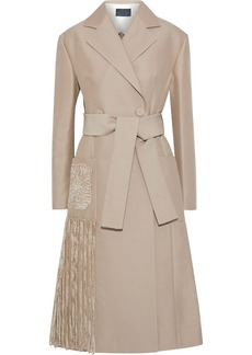 Proenza Schouler Woman Double-breasted Fringed Chenille-trimmed Twill Coat Mushroom