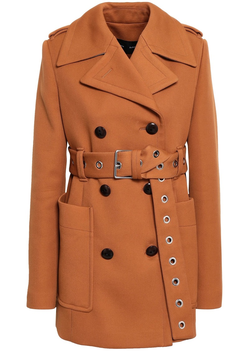 Proenza Schouler Woman Double-breasted Belted Twill Coat Camel