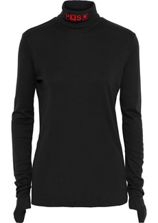 Proenza Schouler Woman Embroidered Supima Cotton And Modal-blend Turtleneck Top Black