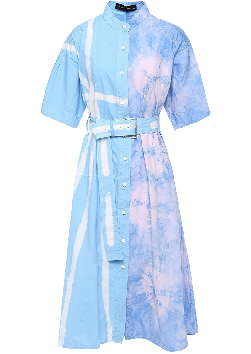 Proenza Schouler Woman Belted Flared Tie-dyed Cotton-poplin Midi Dress Light Blue