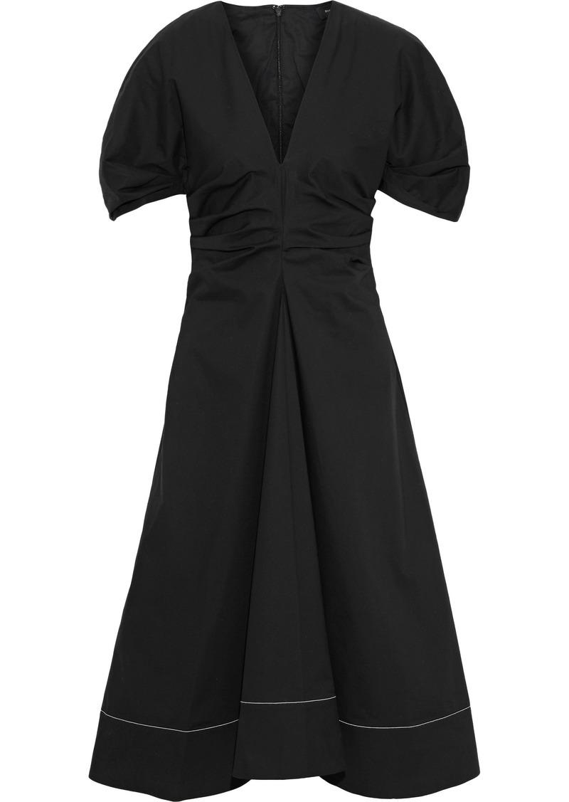 Proenza Schouler Woman Flared Ruched Stretch-cotton Poplin Midi Dress Black