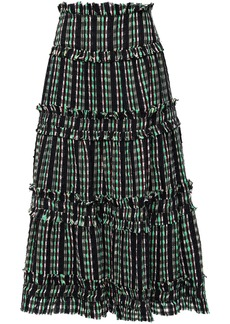 Proenza Schouler Woman Flared Tiered Tweed Midi Skirt Black