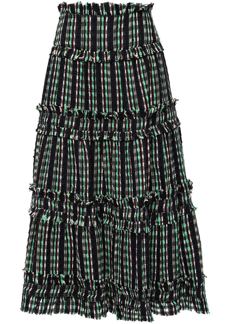 Proenza Schouler Woman Flared Tiered Tweed Midi Skirt Black