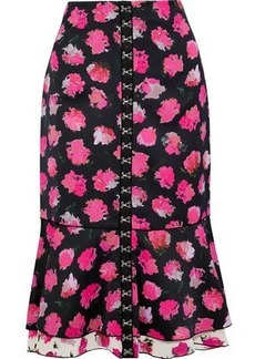 Proenza Schouler Woman Fluted Hook-embellished Floral-print Satin-crepe Midi Skirt Multicolor
