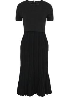Proenza Schouler Woman Fluted Ponte And Plissé Stretch-knit Dress Black