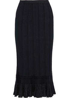 Proenza Schouler Woman Fluted Ribbed-knit Midi Skirt Black
