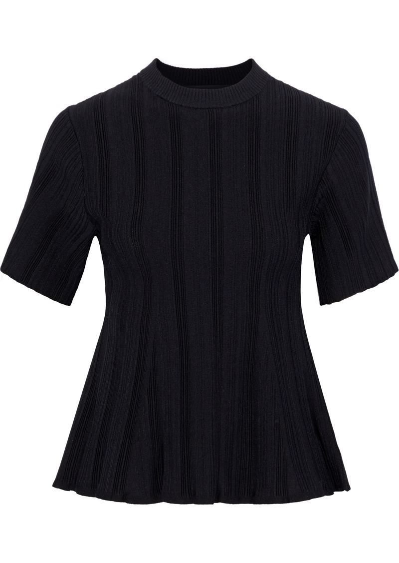 Proenza Schouler Woman Fluted Ribbed-knit Top Black