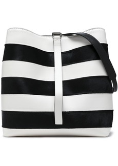 Proenza Schouler Woman Frame Striped Leather And Calf Hair Shoulder Bag White