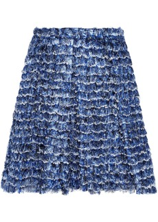 Proenza Schouler Woman Frayed Printed Crepe De Chine Mini Skirt Blue
