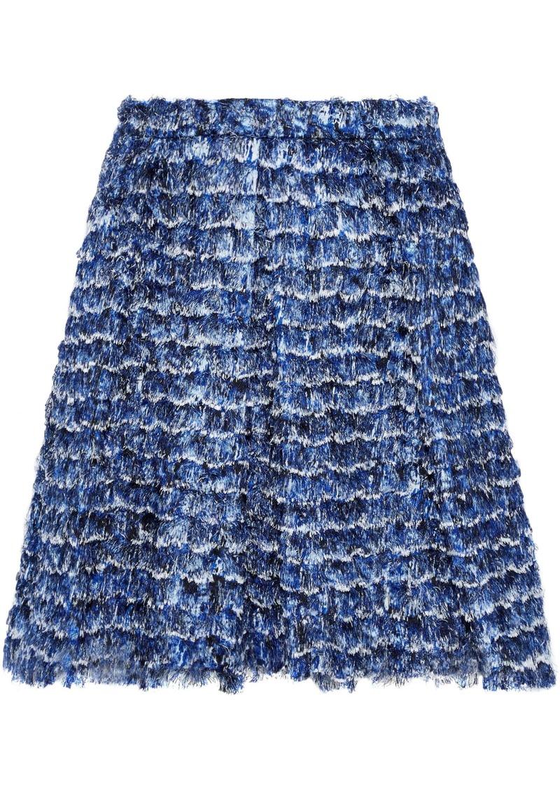 Proenza Schouler Woman Frayed Printed Crepe De Chine Mini Skirt Blue