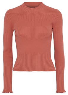 Proenza Schouler Woman Frayed Ribbed-knit Sweater Antique Rose