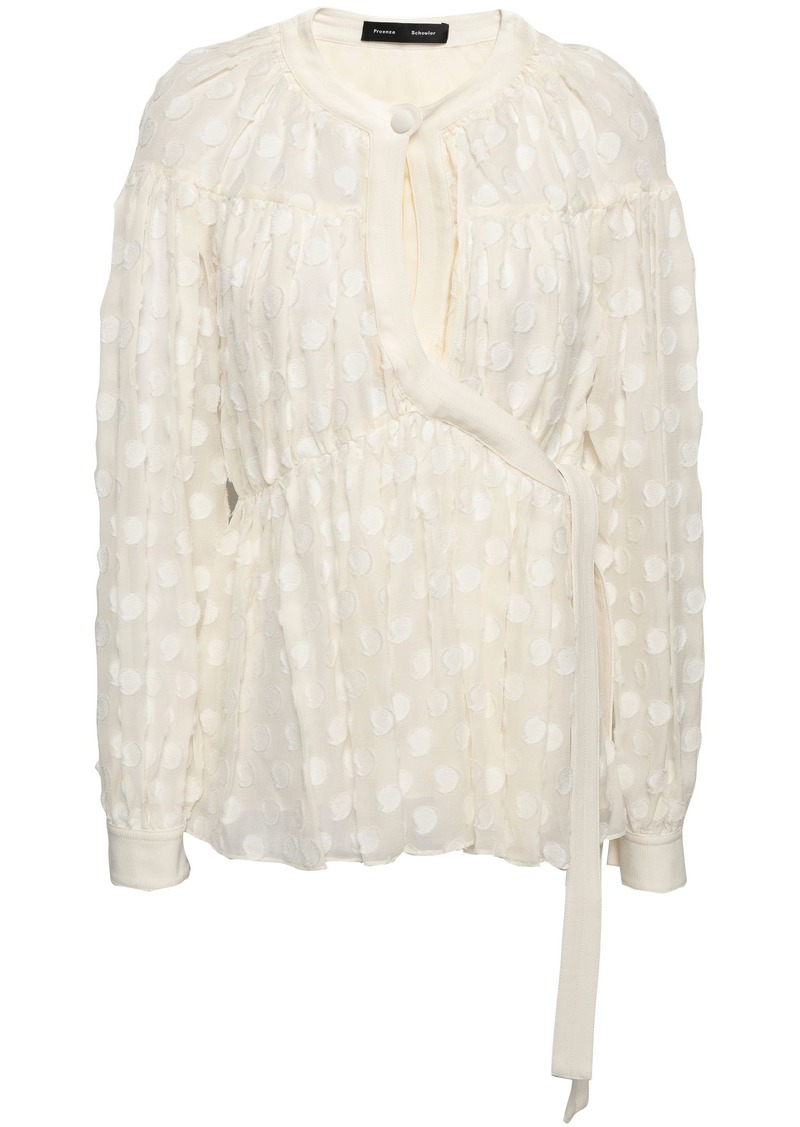 Proenza Schouler Woman Gathered Fil Coupé Silk And Cotton-blend Chiffon Blouse Ecru